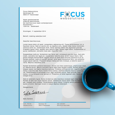 Focus Websolutions briefpapier ontwerp